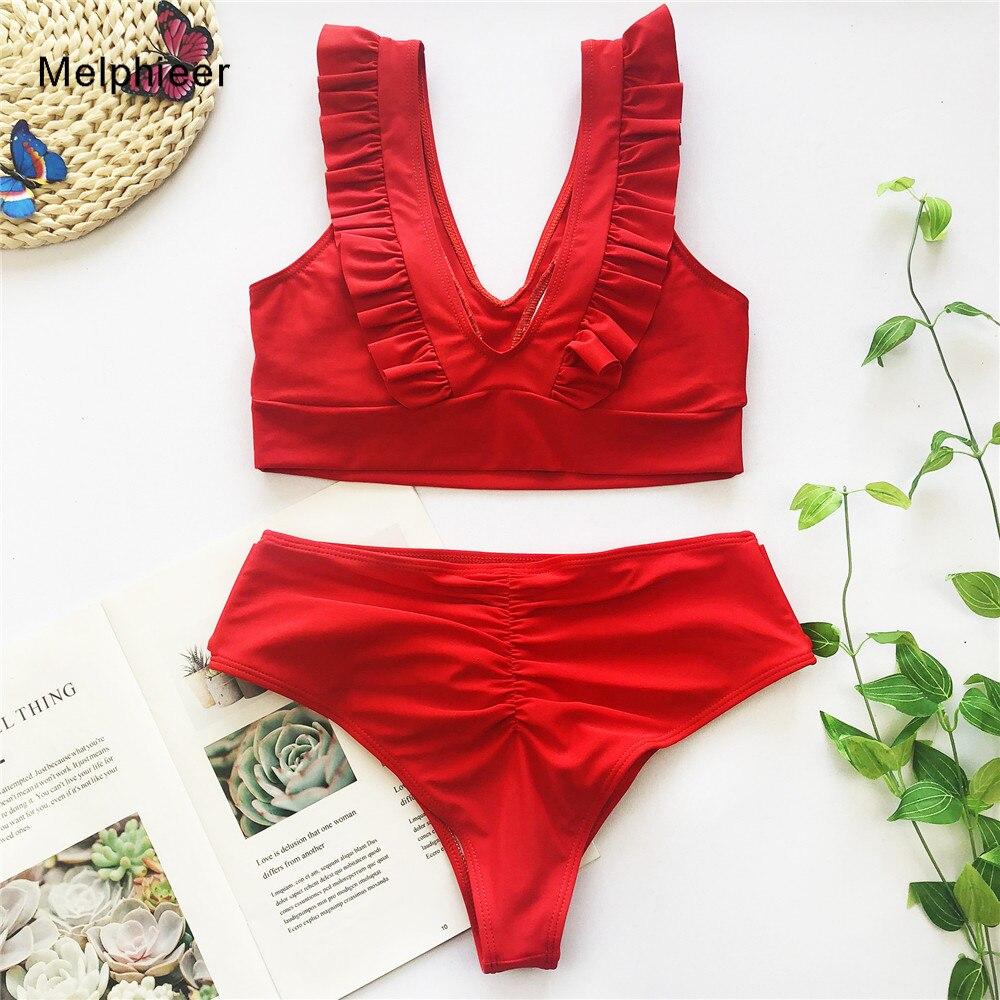 Melphieer Red Ruffle Bikini Women's Swimsuit 2020 Scrunch Butt Bikinis Set Summer Beach Swimwear Lace Up Bandage Swimming Suits