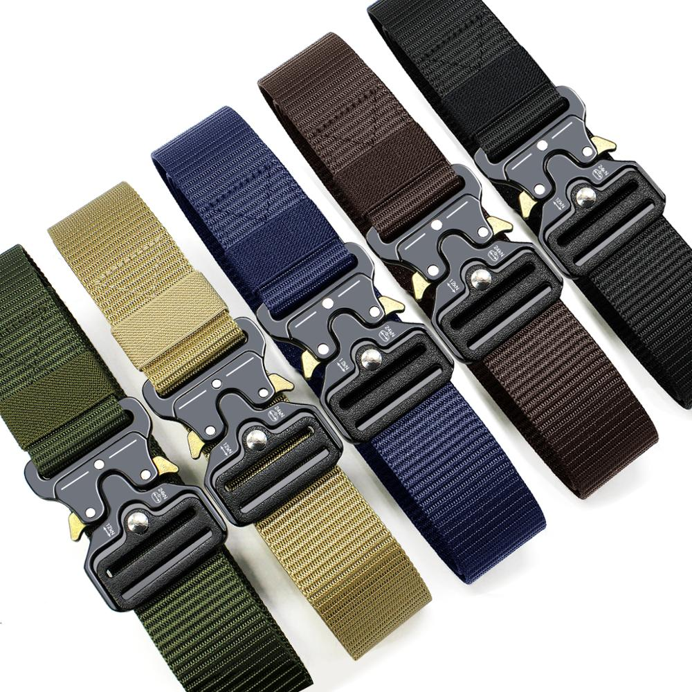 Cinturón táctico de nailon ajustable para hombre, cinturón de cuero pesado de Ejército, con hebilla de Metal militar para exteriores, 125CM