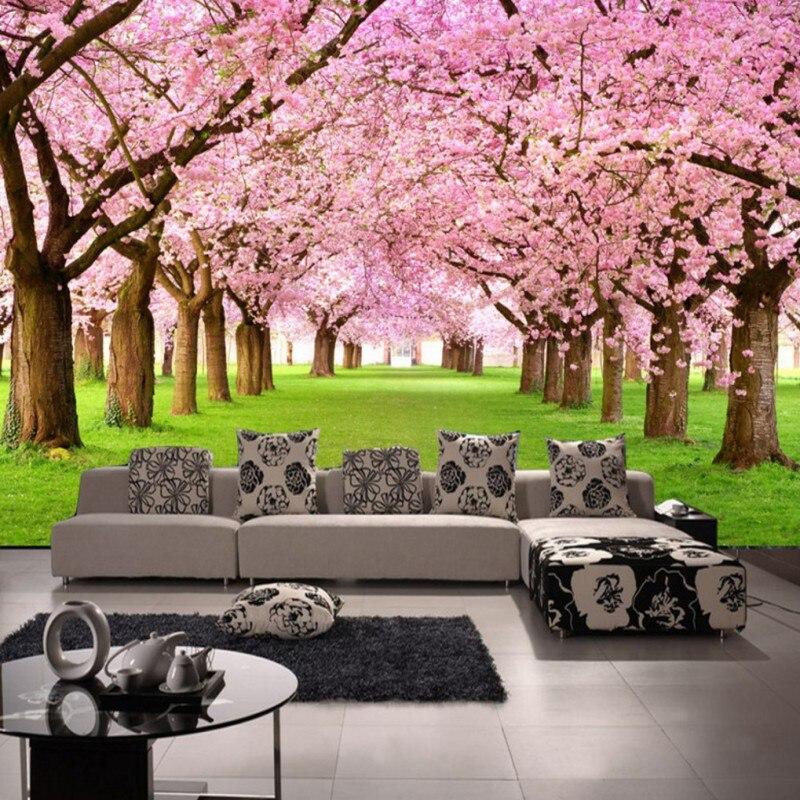 Drop Shipping Photo Wallpaper 3D Stereo Custom Peach Blossom TV Wall Background Mural Living Room Lobby High Qulity Wallpaper