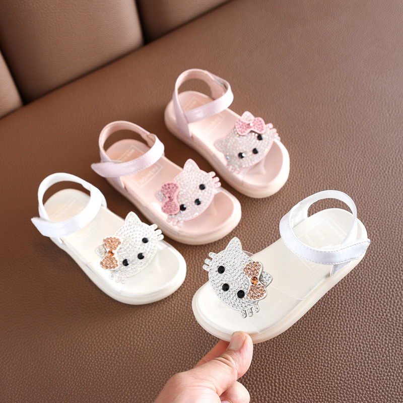 Summer Baby Girls Sandals Rhinestones Cartoon Princess Soft Bottom Beach Shoes 1-3 Years Old Children's Shoes