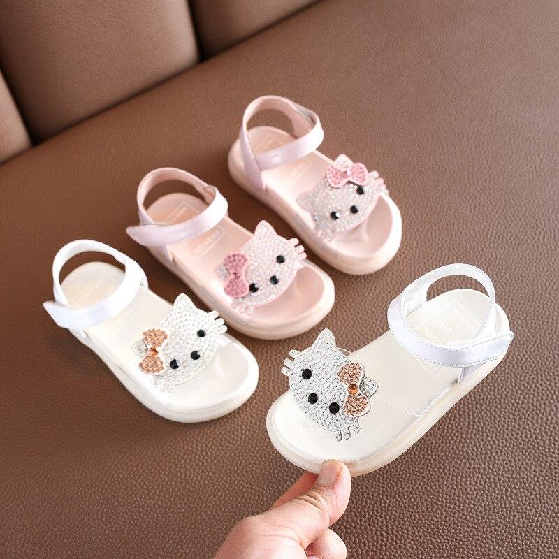 Summer Baby Girls Sandals Rhinestones Cartoon Princess Soft Bottom Beach Shoes 1-3 Years Old Children's Shoes