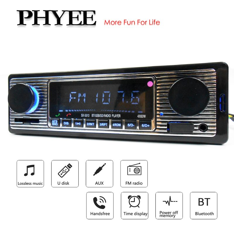 Bluetooth Car Radio 1 Din MP3 Player Handsfree A2DP Wireless Music FM USB SD Aux-in ISO Stereo Audio System Head Unit PHYEE 5513