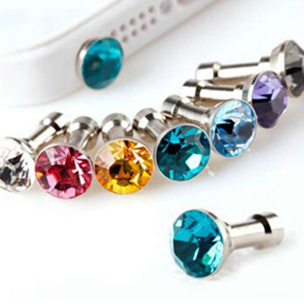 10 PCS/Lot Shinning Colorful Diamond Rhinestone 3.5 MM Mobile Phone Dustproof Plug Accessories