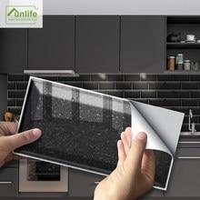 Funlife®Pegatina de terrazo negra para pared, pegatinas de azulejo de PVC ecológicas para baño, cocina, hogar, suelo, 20x10cm