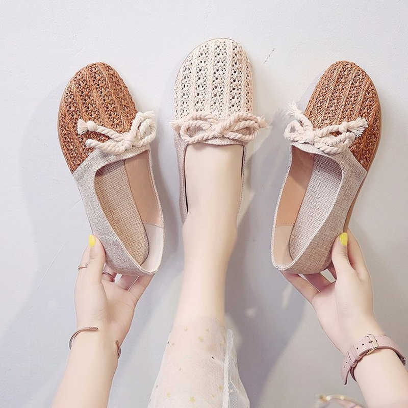 2020 Summer New Women Flats Round Toe Linen Grass Woven Bowknot Flat Heel Breathable Espadrilles Outdoor Flat Women's Shoes