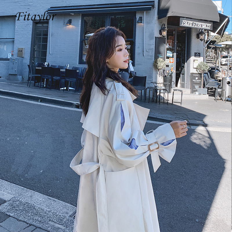 Fitaylor Spring Women Trench Coat Double Breasted Simple Classic Long Trench Coat With Belt Chic Female Windbreaker
