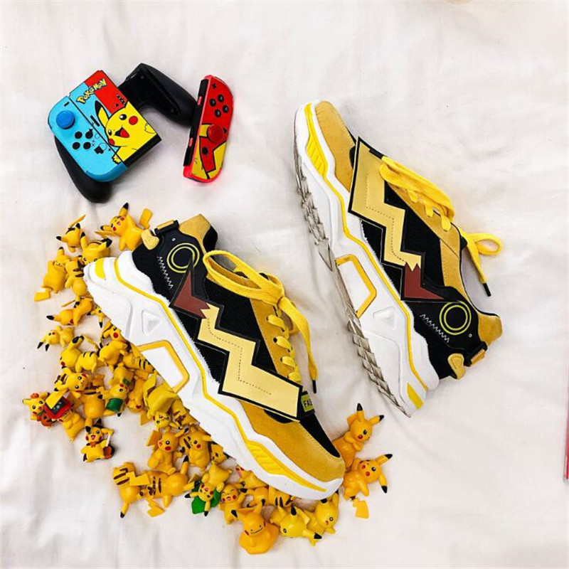 New 2019 Men Women Shoes Cartoon Pokemon Pikachu Casual Shoes Fashion Lightning Boost Shoes Warm Sneakers