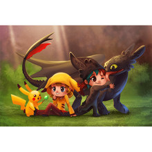 5D Diamant Malerei Voll platz cartoon Dragon kuss Pokemon DIY Mosaik Diamant Stickerei Kreuz Stich Kits Hause Wand kunst Dekor(China)
