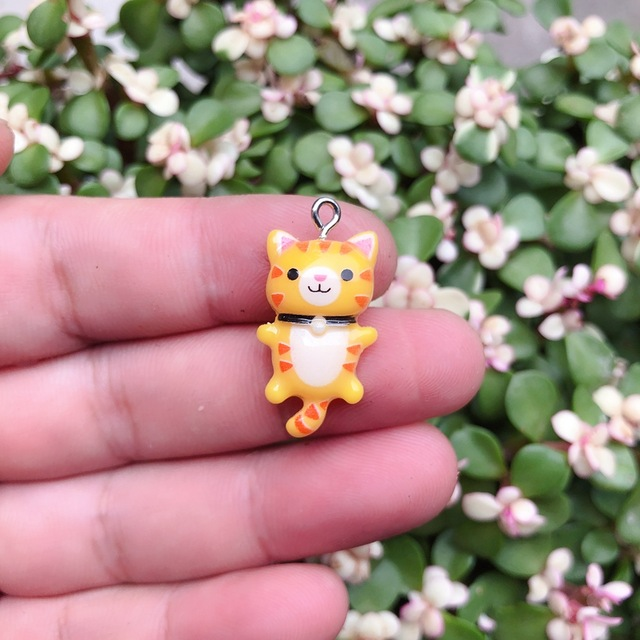 10pcs/pack Kawaii Cat Charms Pendants for Jewelry Making Animal Resin Charms Jewlery Findings DIY Craft 5