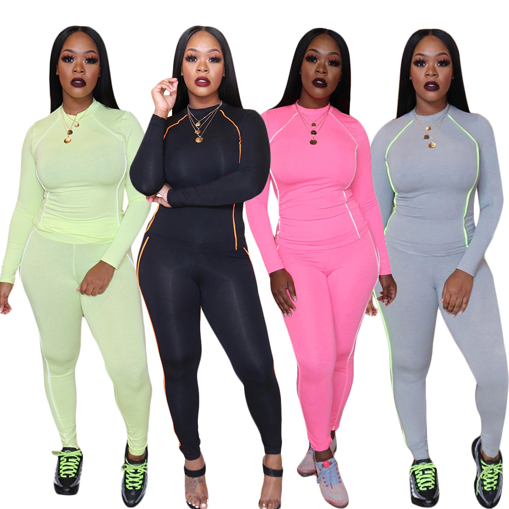 Fall Winter Women's Set Long Sleeve Stripes Patchwork T-shirt Pencil Pants Suit Streetwear Two Piece Set Sporty Tracksuit