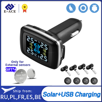 E-ACE Car TPMS Tire Pressure Monitoring System Sensors Tyre Cigarette Lighter USB port Auto Security Alarm Monitoring