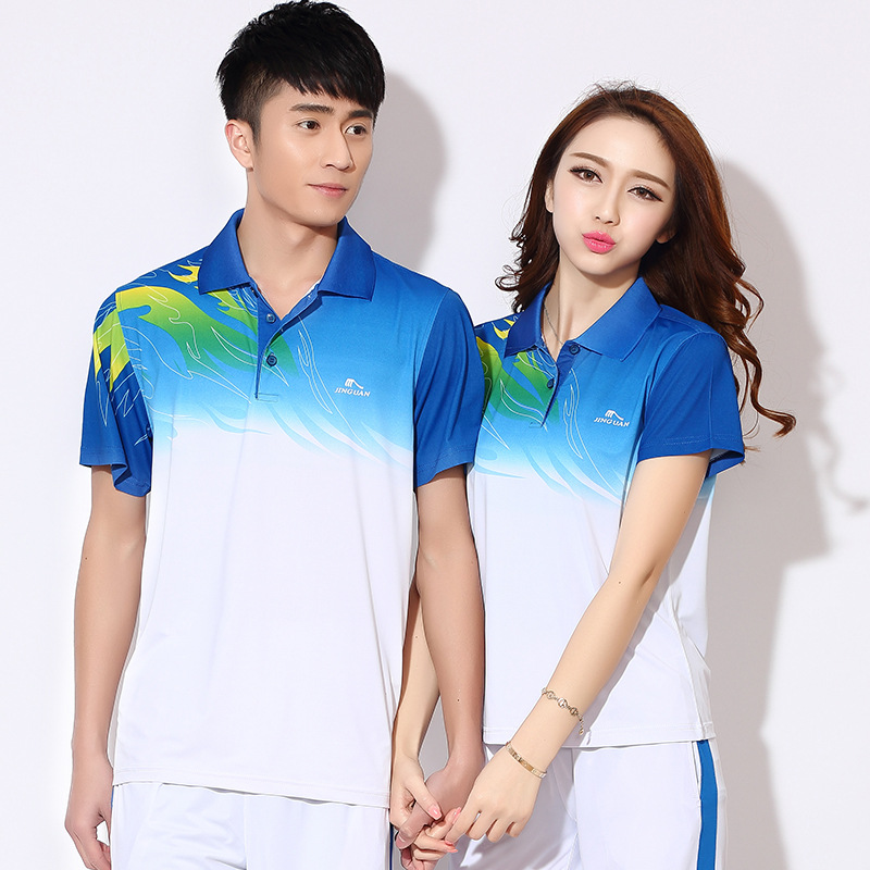 Jin Guanchun Summer Fitness Exercise Games Taiji Soft Ball Uniforms Men And Women Blue Short Sleeve T-shirt Leisure Suit Men And