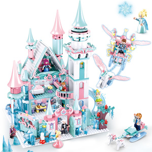 Snow World Series Elsa`s Magical Ice Castle Dream Princess Queen Anna Model Figures Building Blocks Friends Gifts Toy(China)