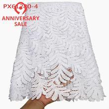 Хорошее качество водорастворимый белый хлопок Гипюр кружевной ткани 5 ярдов нигерийский Лагос кружевной стиль