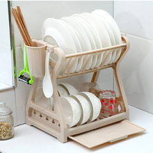 Kitchen Dish Drying Rack Plastic Drainer Cutlery Organizer Cutting Board Holder and Tableware for Counter