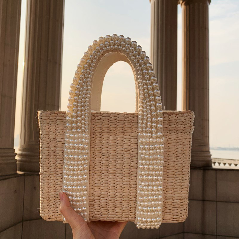 Summer Holiday Beach Bag with Pearl Large Tote Straw Bag Crossbody Bag for Women
