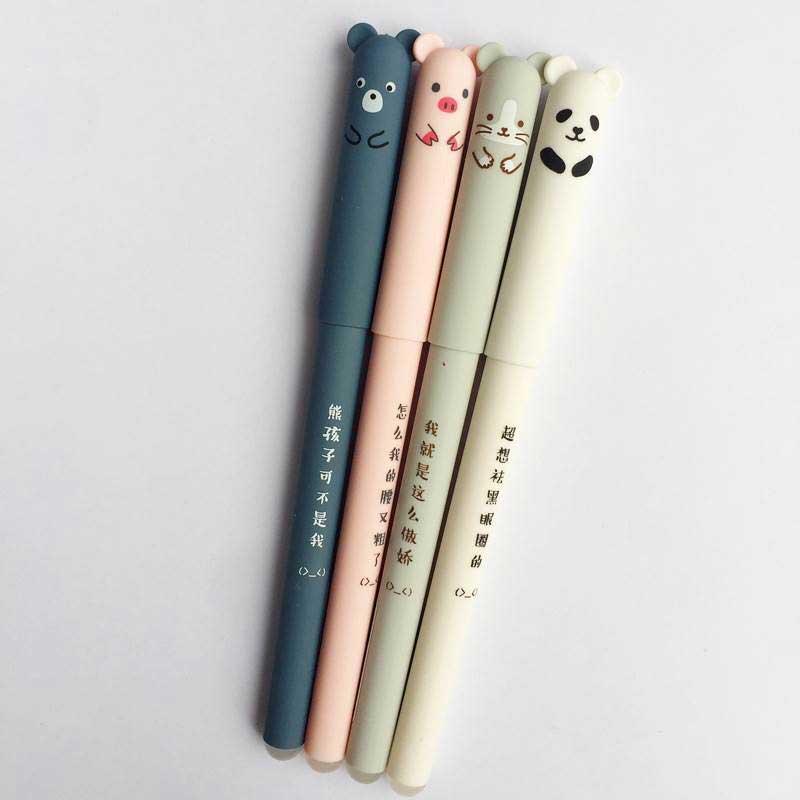 26 шт./лот, набор стираемых ручек с милыми животными, моющаяся ручка 0,35 мм, синие чернила, стираемые стержни, шариковая ручка для школьных канцелярских принадлежностей