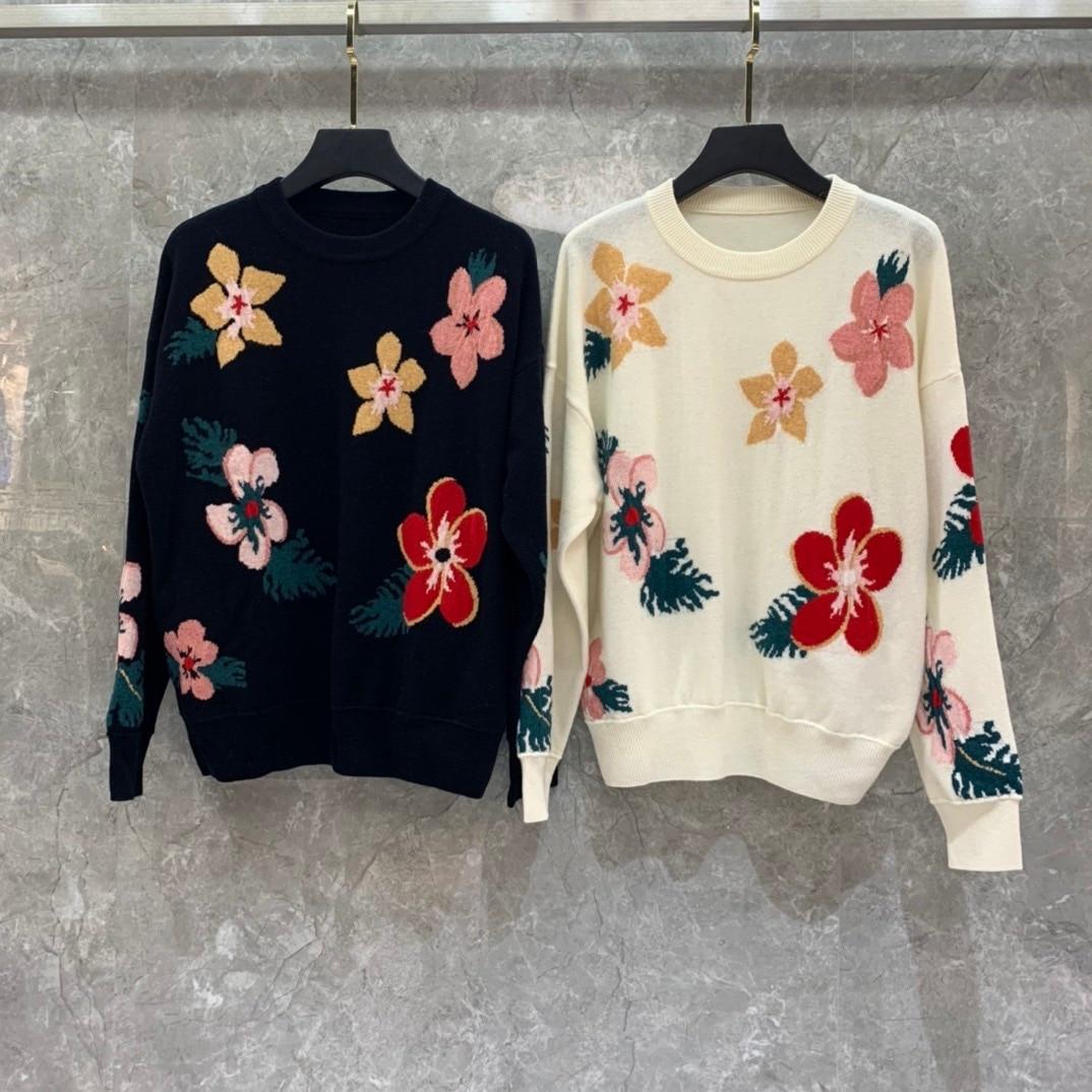 2019 inverno nova moda flor impressão lã camisola feminina tamanho s m l frete grátis para todo o mundo