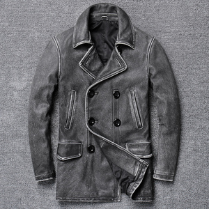 Image 1 - YR!Free shipping.classic gray long casual leather jacket,mens vintage slim genuine leather coat.plus size,cowhide overcoat