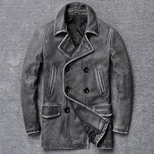 YR! frete grátis. clássico cinza longo casuais jaqueta de couro, casaco magro dos homens do vintage de couro genuíno. plus size, casaco de couro