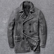YR! Бесплатная доставка. Классическая Серая длинная повседневная кожаная куртка, мужское винтажное тонкое пальто из натуральной кожи. Искусственное пальто из воловьей кожи