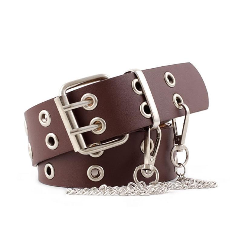 Women's New Punk Style Fashion Belt Double Row Studded Jeans Fashion Decorative Belt  Chain Belt  Designer Belts High Quality