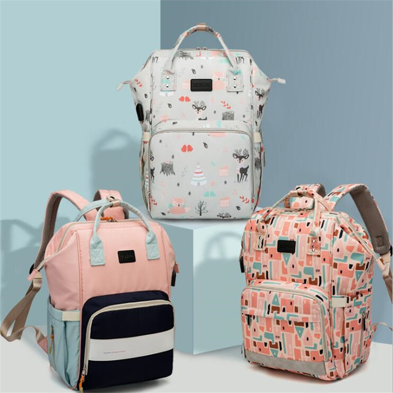 USB Diaper Bag Backpack For Mom Travel Waterproof Large Capacity Stroller Bag Maternity Bag Nappy Changing Baby Bag