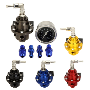 High Performance Car Fuel Pressure Gauge Adjustable Fuel Pressure Regulator Blue
