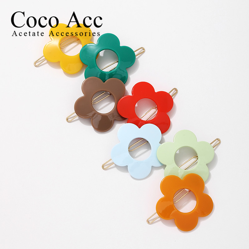 13 Color Wholesale Fancy Acrylic Candy Hollowout Flower Color Hair Frog Clips Grips Accessories For Kids Girls