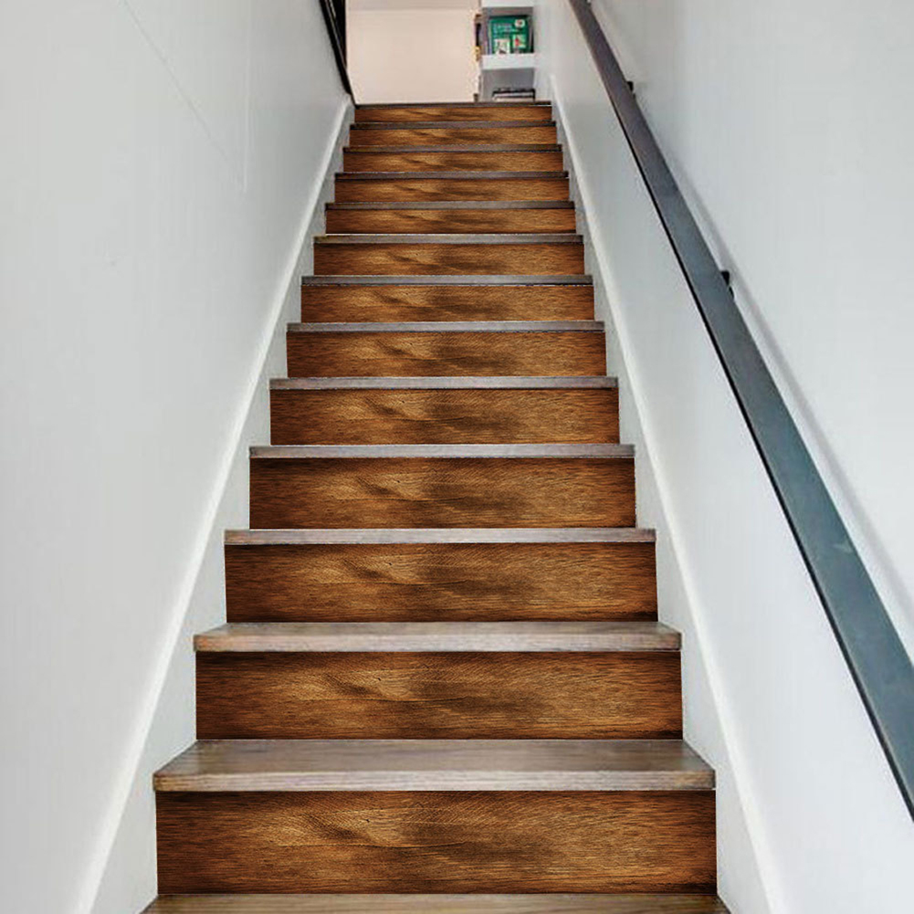 6 13Pcs Removable Stairs Sticker Step Wood Self Adhesive Pvc Stair | Detachable Banister And Stair Hand Railing | Stair Case | Half Wall | Modern | Traditional | Mezzanine