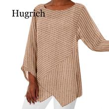 2020 Autumn New Fashion Women Plus Size Striped Long Sleeve Linen Baggy Blouse Shirt Ladies Summer Tunic Tops