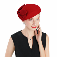 Wool Beret Red Hats Women Winter French Hat Girls Solid Color Fashion Autumn For Bow Felt Berets