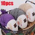 10 stücke Garn für Hand Stricken Baumwolle 100% Weiche Gekämmte Faden Häkeln 500g Garn Hand Stricken Bunte Organische Garn