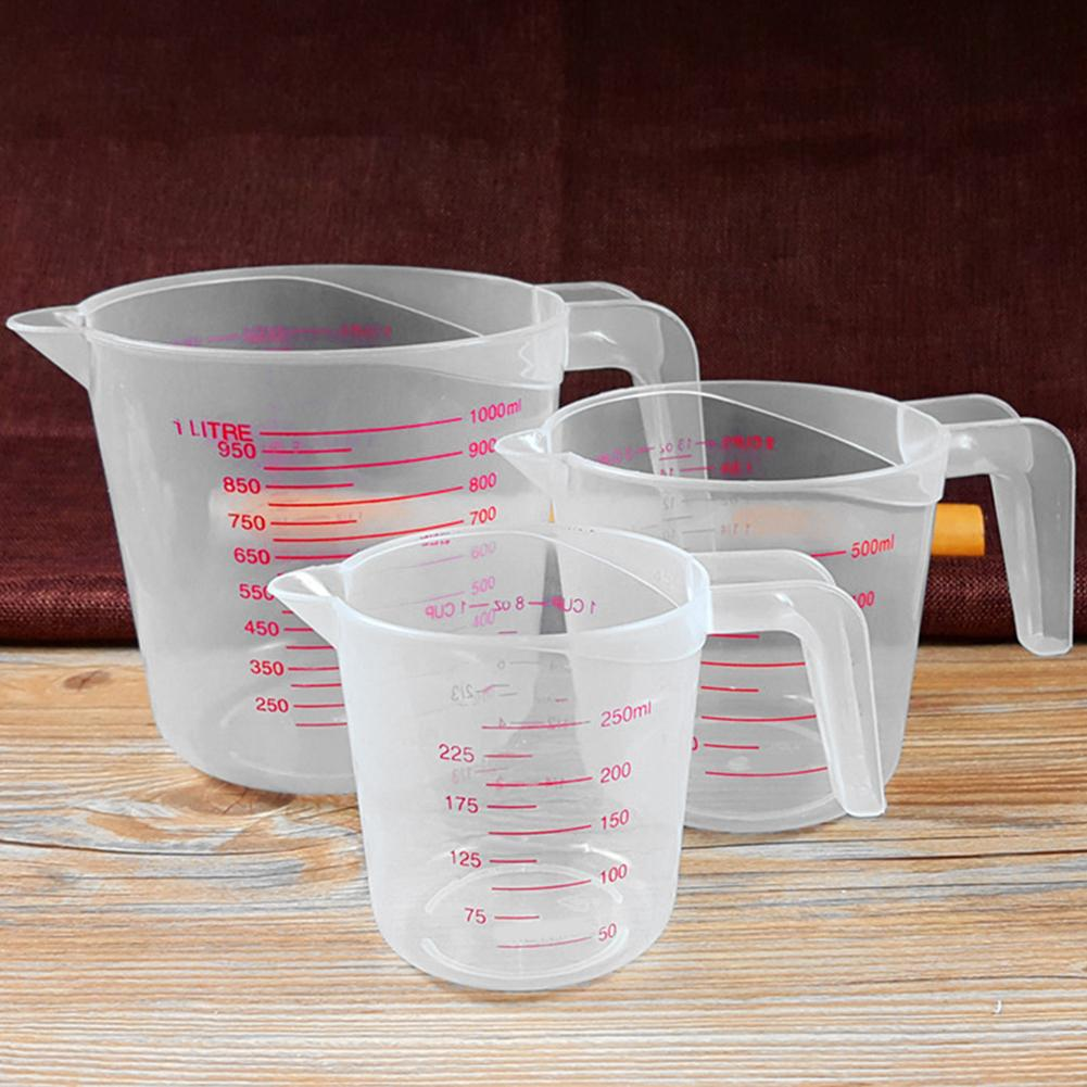 250/500/1000ml Double Scale Clear Plastic Graduated Measuring Cup for Baking Beaker Liquid Measure Jug Cup Weighing Tool
