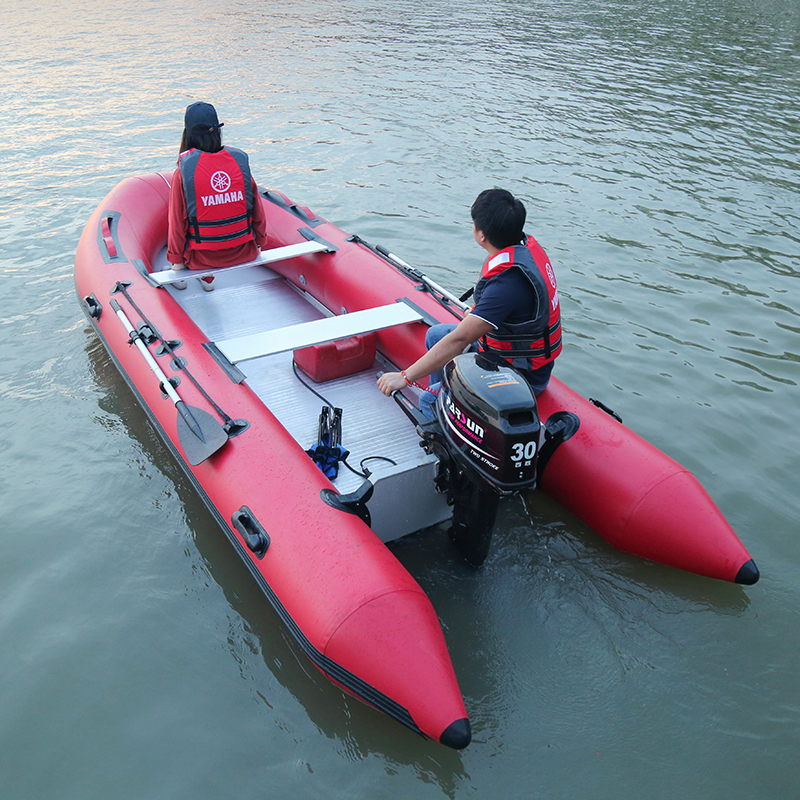 Red High Transom Board Inflatable Boat With Aluminum Alloy Bottom Rubber Boat Kayak Fishing Boat Hovercraft Assault Boat
