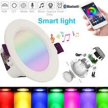 Luminária led inteligente no teto 16 cores, rgb/ww/cw, luminária redonda, downlight, bluetooth, controle por aplicativo luz inteligente,