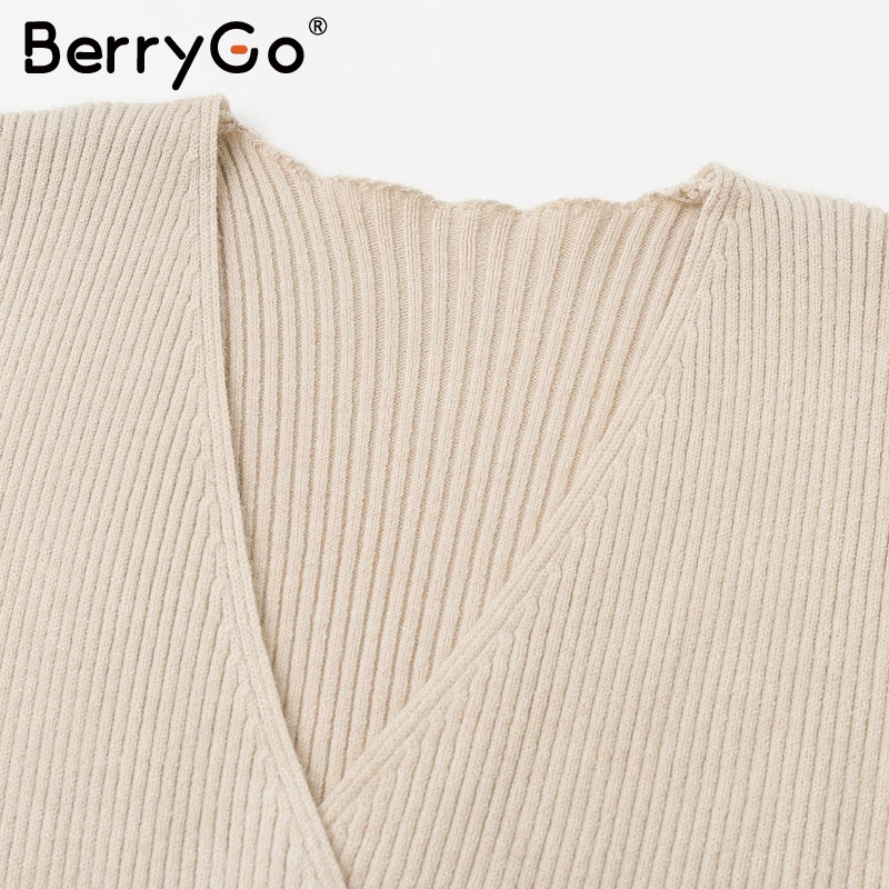 BerryGo Ruffle long sleeve knitted dress women V neck sashes female pleated dresses High waist luxury autumn winter office dress 11