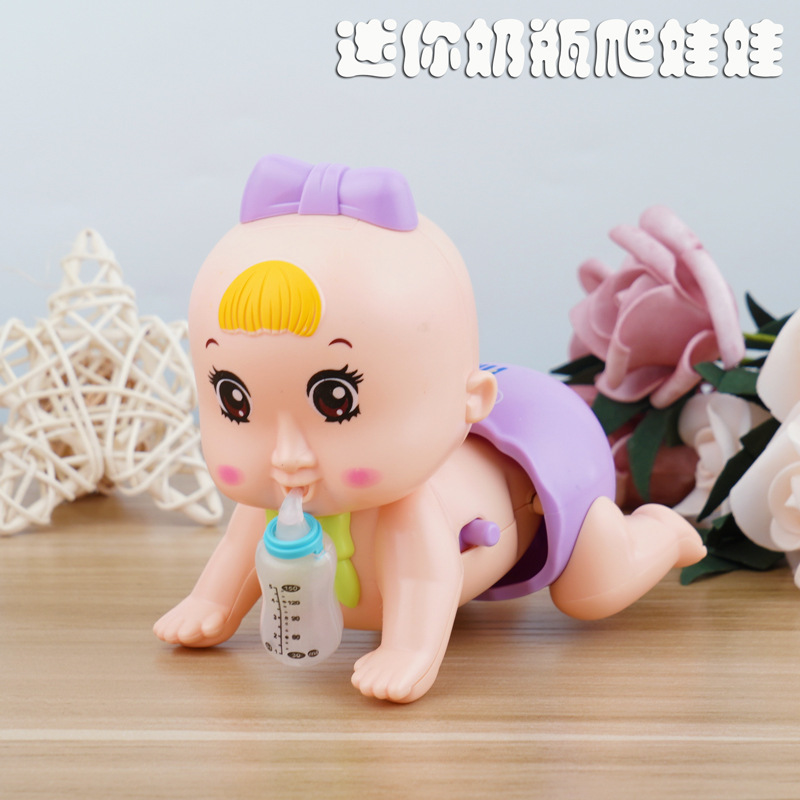 Electric Crawling Doll Music Educational Crawling  Doll Baby Infants Learn To Climb  Toy 6-12 Months Mini Feeding Bottle Crawlin