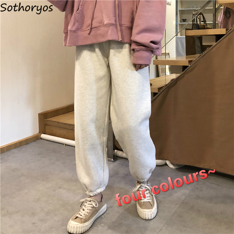 Women Pants Warm Solid Velvet Long Loose Thicken High Quality Elastic Waist Trousers 4 Colors Womens Simple Leisure All-match