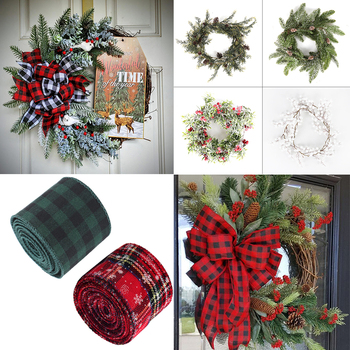 Decoración navideña de arpillera a cuadros, adorno de lazo, Corona de Navidad,...