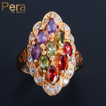 18k Real Gold Plated Trendy Multi Colorful Stone Oval Shape CZ Daimond Paved Engagement Party Finger Ring Jewelry For Women R017 effie queen trendy big charming women ring 196 pieces zircons paved smoothly real luxury crystal finger ring for party dr123