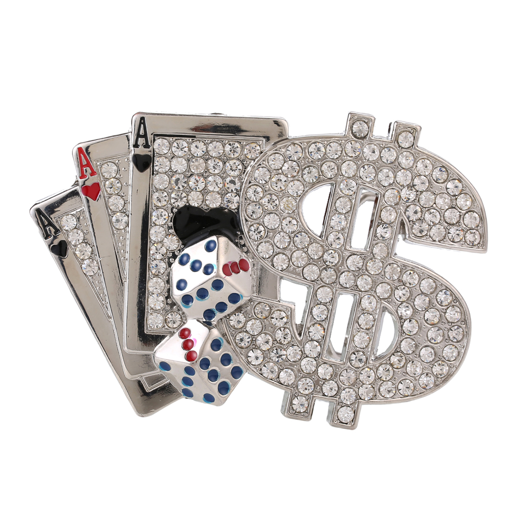 Rhinestone Poker Dice Dollar Belt Buckle Hip Hop Western Cowboy Cowgirl Buckle