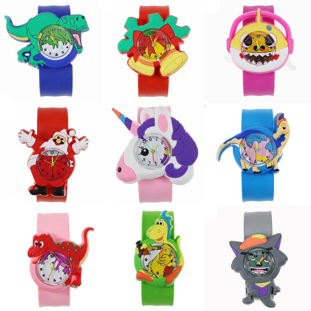 Игрушки динозавры, детские развивающие часы, Мультяшные пони, Акула, детские часы, Санта Клаус, рождественские подарки для детей, часы для