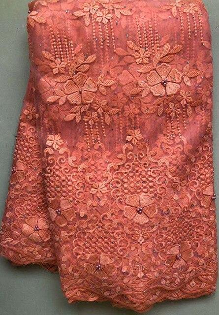 Afrika boncuklu dantel kumaş işlemeli nijeryalı danteller kumaş 2020 yüksek kaliteli şeftali fransız tül dantel kumaş kadınlar için HLL4807