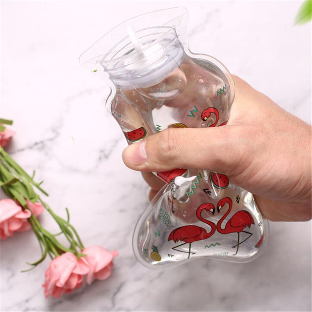 Śliczne przezroczysta butelka gorącej wody ciepły brzuch skarb kreskówka ręka cieplej wypełnione Mini przeciwwybuchowe przenośne termofory