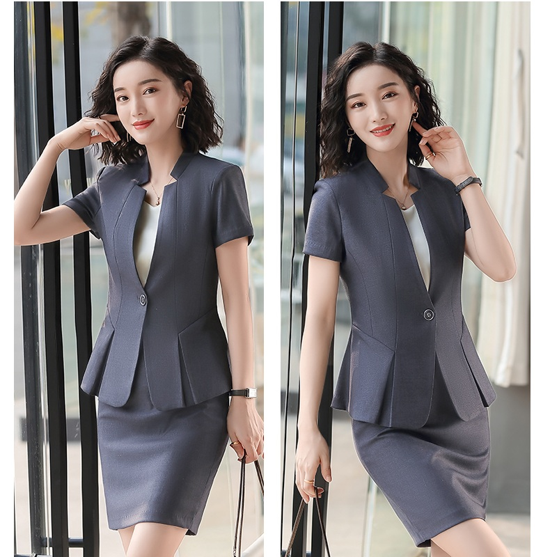 2020 New Female Elegant Formal Office Work Wear Summer Fashion Ladies Black Blazer Women Jackets Short Sleeve Clothes OL Styles