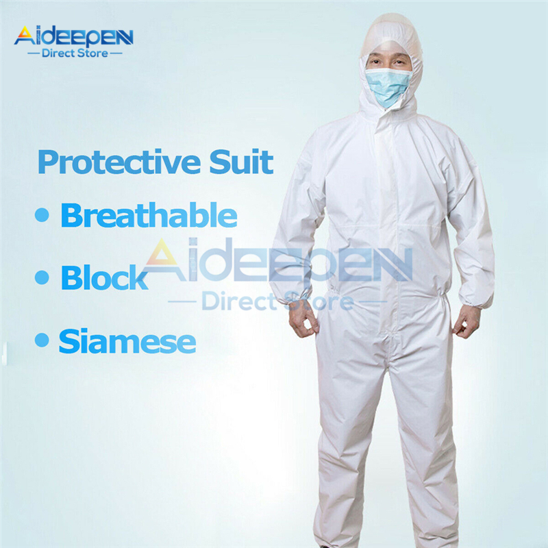 Disposable Non-Woven Waterproof Oil Dustproof Resistant Protective Coverall Hooded Protective Suit For Spary Painting Decorating