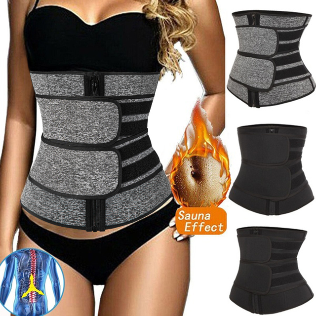 Abdominal Belt High Compression Zipper Neoprene Waist Trainer Cincher Corset Body Shaper Fajas Sweat Slimming Shapewear