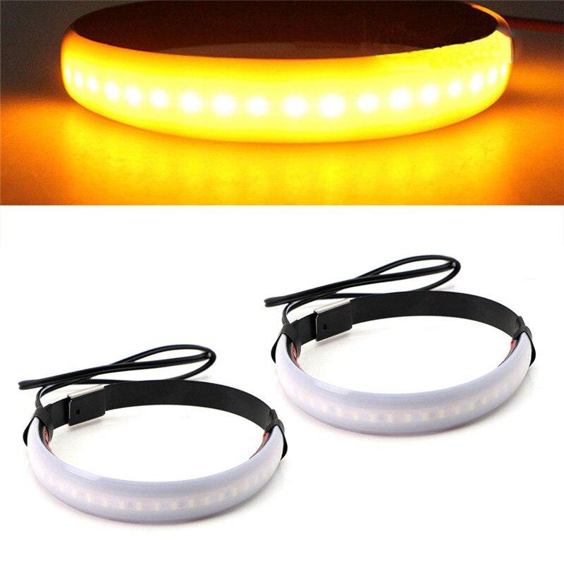 Universal Super Bright Amber LED Fork Turn Signal Lights Strip For Motorcycle LED Ring Turning Light Flexible
