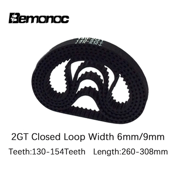 PU with Steel Core GT2 Belt Black Color 2GT Timing Belt 6mm 9mm Width 260-308 Length 130-154Teeth For 3d printer pu timing belt coated with apl two types